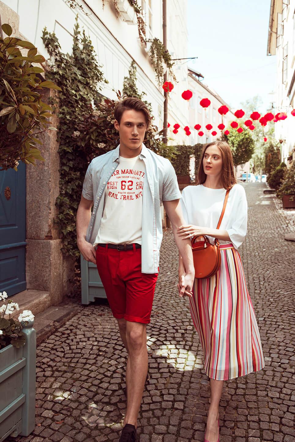 Moški: Majica Tom Tailor  9.09 EUR, Kratke hlače Tom Tailor 23,99 EUR, Srajca Tom Tailor 20,99 EUR ; Ženska: Krilo Tom Tailor 35,99 EUR, Majica Tom Tailor 18 EUR, Torbica Parfois 24,99 EUR