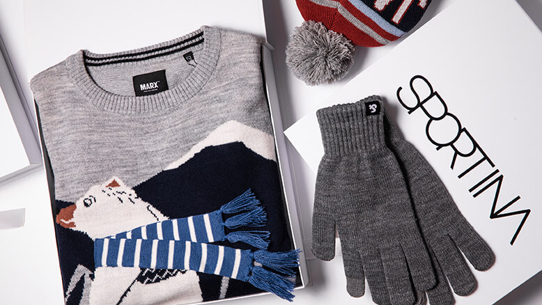 Jack & Jones rokavice 14,99 € ;  Marx pulover 39,99 € ;